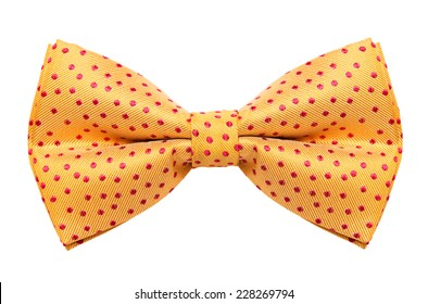 Funky polka dotted bow tie isolated on white background