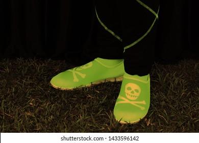 Funky Skelton Danger sign florescent shoes.
