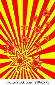 A funky stars background illustration with red and yellow stars on an red and yellow sunburst background