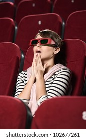 Funky woman at the 3D movie