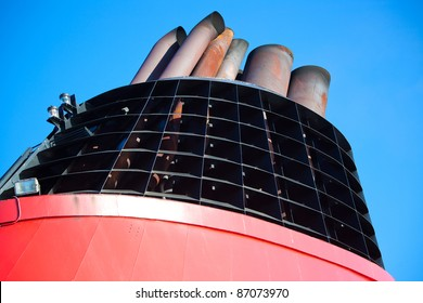 Funnel of big modern ship.