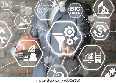 Funnel Gear Data Conversation Mining Rate Optimization Smart Manufacturing Network Big Data Information Technology. Man presses funnel gears icon on virtual screen.
