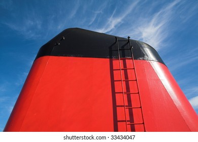 Funnel with ladder on a ship