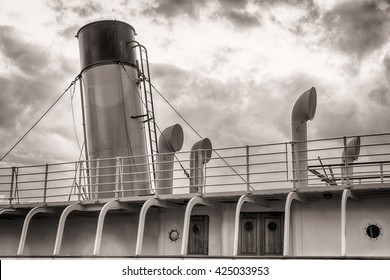 Funnel on old passenger ship (1920s), in Belfast, Northern Ireland.