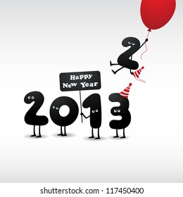 Funny 2013 New Year's Eve greeting card - JPG Version
