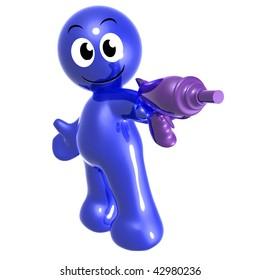 Funny 3d icon figure with futuristic gun