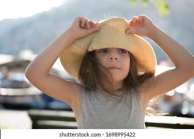 Funny 7-8 years Turkish girl smiling  portrait