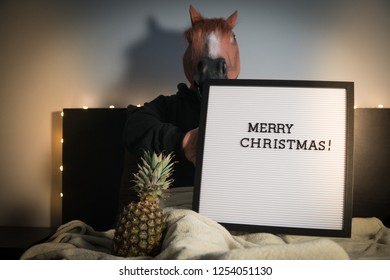 Funny absurd photo/scene of a man with horse mask holding a board in hand with Merry Christmas text, and  a pineapple next to his legs