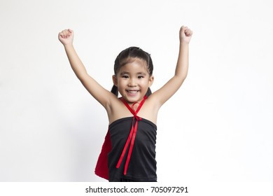 funny action of asian girl with black dress and red shawl in hero wonder concept on white background
