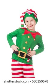 Funny and adorable elf grimacing on isolated white