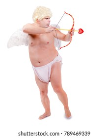 Funny angel focus arrow, isolated on white background. Fat adult angel aiming arrow. Threaten of love.