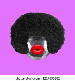Funny art collage. Concept disco ball with afro hair and lips.
