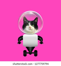 Funny art collage. Concept Robot astronaut Cat on pink background.