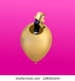 Funny art collage. Duck with hat peeking out of gold balloon on pink background.