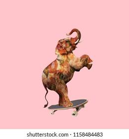 Funny art collage. Elephant Pizza on skateboard.