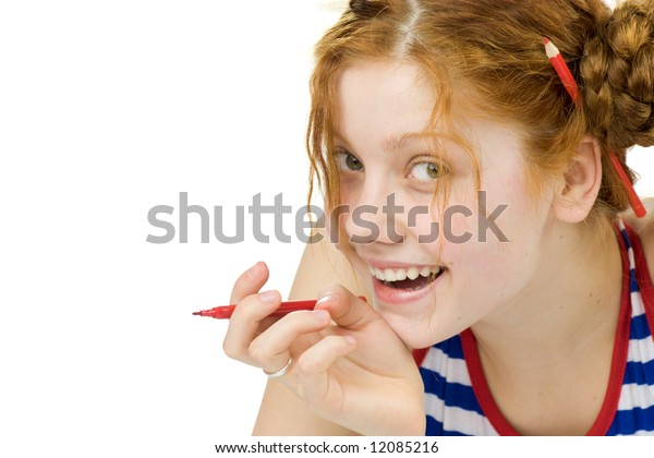 Funny artist going to draw something isolated on white