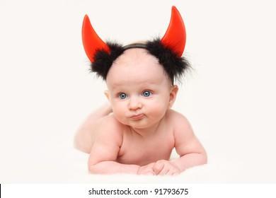 funny  baby boy dressed as a devil