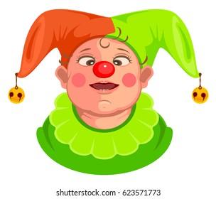 Funny baby clown head. Isolated on white cartoon illustration