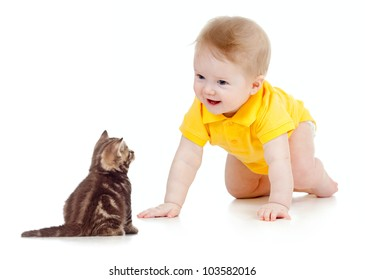 funny baby crawling to cat