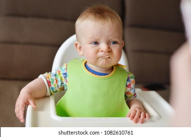funny baby refuse to eat a meat