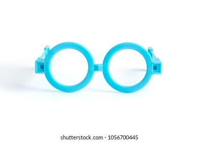 Funny baby toy round glasses isolated on white background