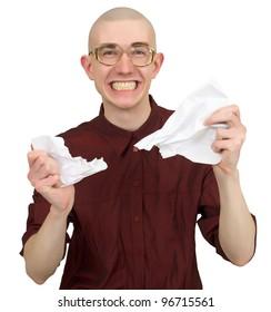 Funny bald man torments the paper