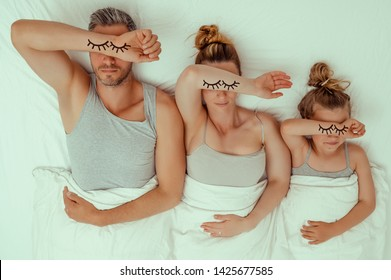 funny bed family tired concept
