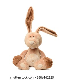 funny beige plush rabbit with big ears and funny face isolated on white background