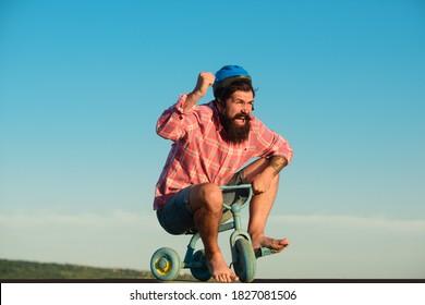 Funny bicycle rider. Comic man ride bike