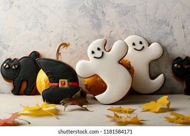 Funny black Halloween cat and ghost