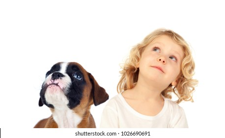Funny blond child and his dog looking up isolated on a white background