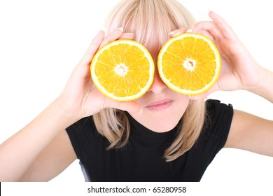 funny blonde with two orange slices instead of eyes over white