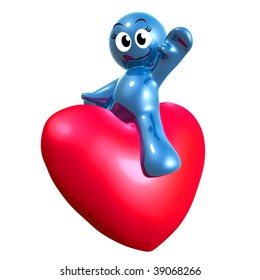 Funny blue icon riding a heart