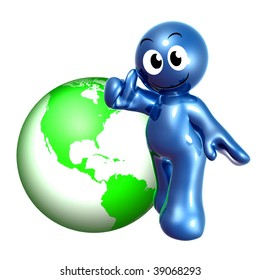 Funny blue icon thumbs up on globalization