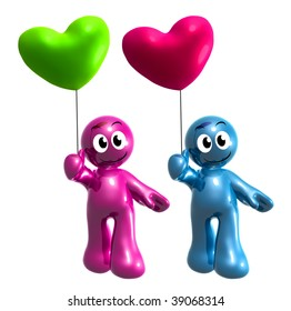 Funny blue and pink icon holding heart balloons