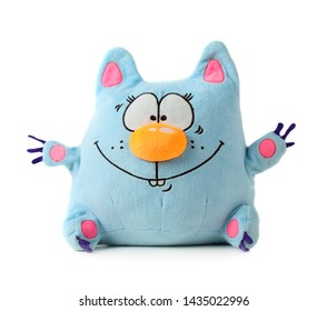 Funny blue toy cat isolated on white background