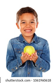 Funny boy with dark hair and eyes holding a apple isolated on a white background