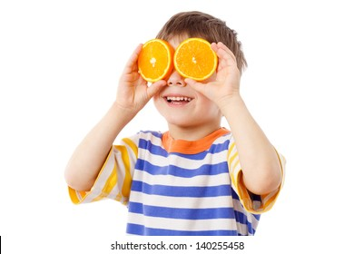 Funny boy with fruits on eyes, isolated on white