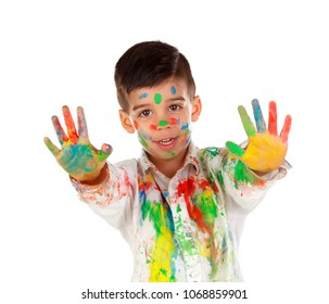 Funny boy with hands and face full of paint isolated on a white background
