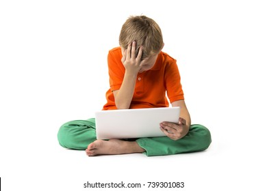 funny boy with a laptop on a white background, emotions