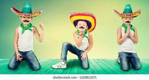 Funny boy in  Mexican sombrero.Collage.