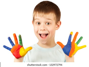 funny boy with stained coloured hand. isolated