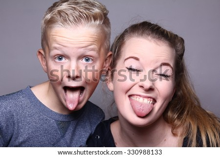 Funny Brother Sister Stock Photo Edit Now 330988133 Shutterstock