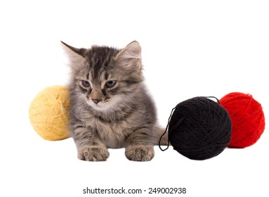 Funny brown kitten and balls of thread isolated on white