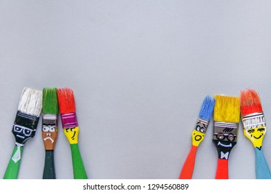 Funny brushes friends in different camps