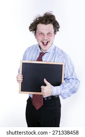 funny business man with blackboard over white background