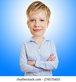 Funny business woman with big head in front of a blue background