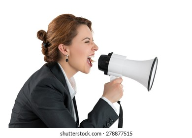 Funny business woman shouting with a megaphone over white background. Profile portrait