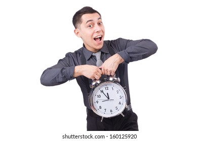 Funny businessman with clock isolated on white