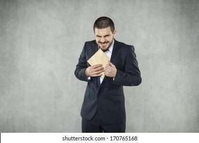 Funny businessman take a bribe